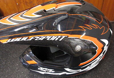 Kids Childrens Quad Wulf Wulfsport MX Motorcross Force 10 Helmet Orange Small T