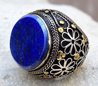 Lapis Lazuli Ring Turkish Ethnic Tribal Jewelry Kuchi Bohemian Boho Gypsy Hippie