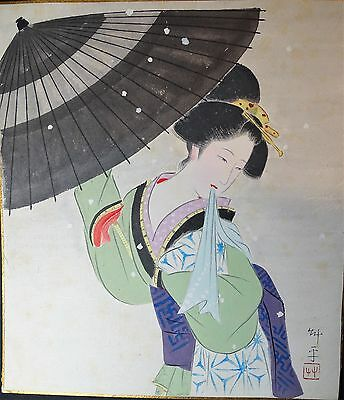 SUPER - Original Painting Japanese Geisha Signed with Title - ca 1920s Japan