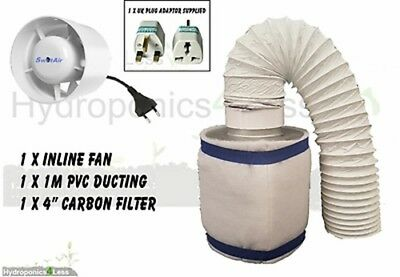 """4"""" 100m3/hr In Line Fan Carbon Filter Duct Kit Hydroponic Grow Tent Ventilation"""