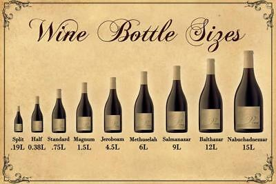 Wine Bottle Size Chart Plastic Sign Retro Decor Wall Art Cafe Bar Restaurant