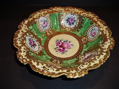 Antique Hand Painted Roses with Raised gold Bowl