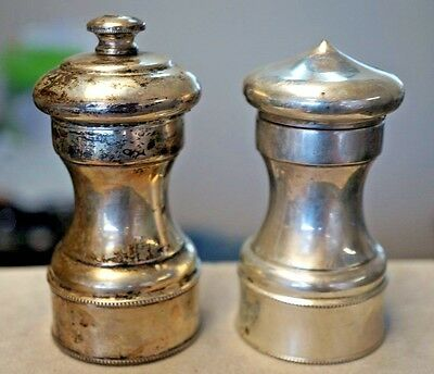Antique Abercrombie & Fitch Sterling Silver Salt Shaker & Pepper Mill Set