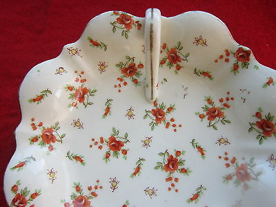 Vintage MM China of Japan Handled Bon Bon Dish Red Roses and Buds