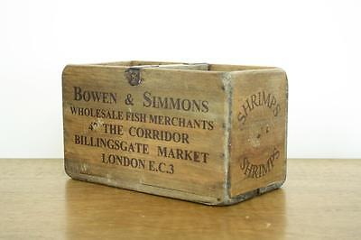 Vintage Wooden Fish Crate Trug Box Industrial Planter S46 Shrimps London