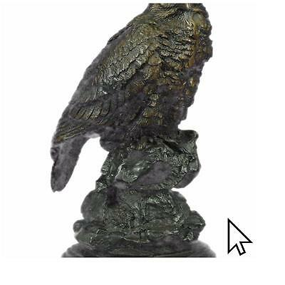 Real Bronze HAWK ON CLIFF LOST WAX BY MOIGNIEZ MARBLE Sculpture Statue