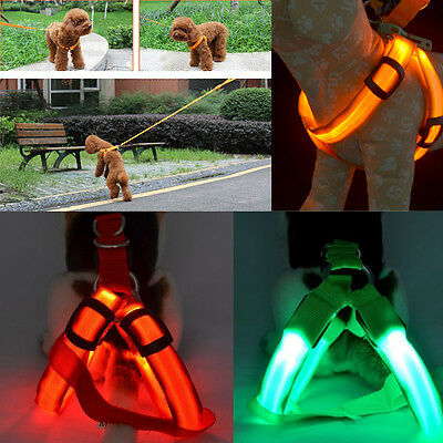 Pet Harness Flashing Luminous Adjustable Safety LED Light Up Nylon Tag for Dog
