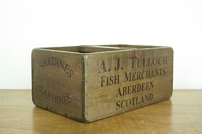 Vintage Wooden Fish Crate Trug Industrial Planter L12 Sardines Scotland