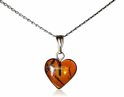 Baltic Amber Heart Necklace -Sterling Silver Chain. - LARGE HEART - A CLASSIC!
