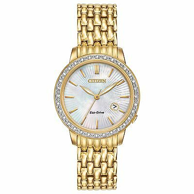 Citizen Eco-Drive Women's EW2282-52D Diamond Accents Gold-Tone 29mm Dress Watch