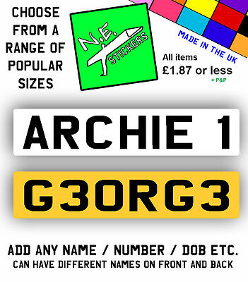 Upto 2 x Personalised Private Kids Number Plate RideOn Car Childrens Childs Name