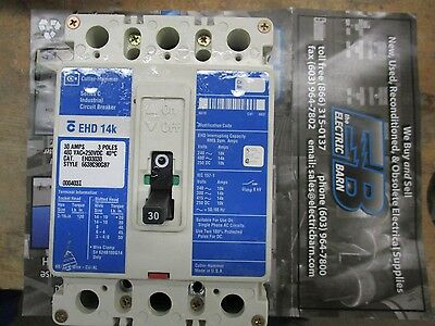Cutler Hammer EHD3030, 30 Amp 3 Pole 480 Volt Circuit Breaker, Blue- Warranty