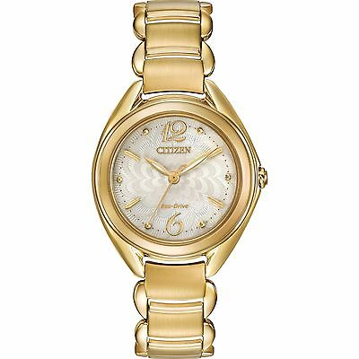 Citizen Eco-Drive Women's FE2072-89A Gold Tone Floral Motif Dial Bracelet Watch