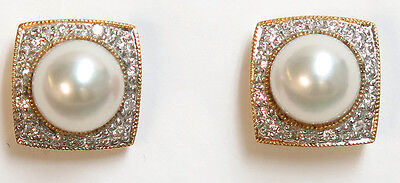 14K Solid 14K Yellow Gold Akoya cultured Pearl and Diamond Earrings