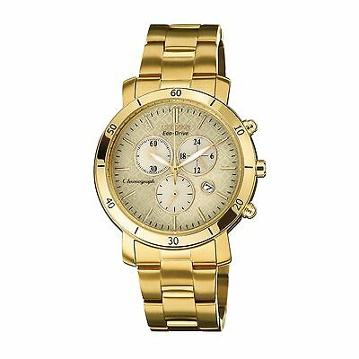Citizen Eco-Drive Women's FB1342-56P Chronograph Gold Tone Bracelet 41mm Watch