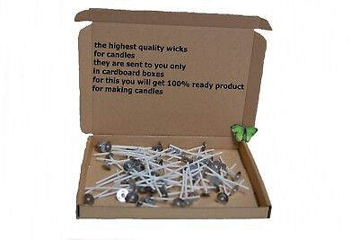 10cm/4inchx20/50 High Quality Pre Waxed Wicks With Sustainers For Candle Making
