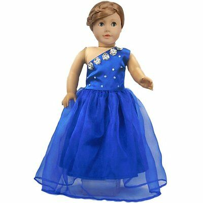 Ebuddy ® One Shoulder Fashion Blue Party Dress Clothes Fits 18 Inch Doll
