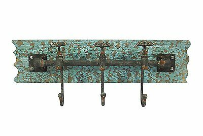 Vintage Iron Wall Hooks Antique Finish Metal Clothes Bath Tower Hanger Turquoise
