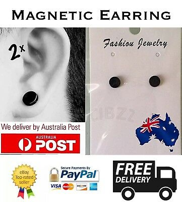 2x Magnetic Earrings Ear Stud Mens Women's NO PIERCING Jewellery 6mm Round BLACK