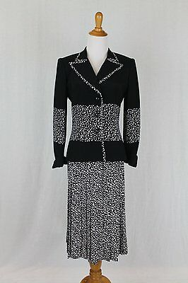 Vintage DAVID HAYES Black & White Silk Suit Pleated Skirt Ensemble Size 6 38