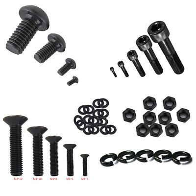 Lots M3 Black alloy Steel Allen Screws Bolt With Hex Nuts Washers Assortment