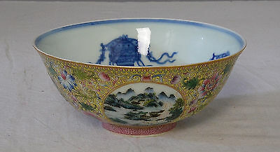 Chinese Famille Rose With Blue and White Porcelain Bowl With Mark      M2087