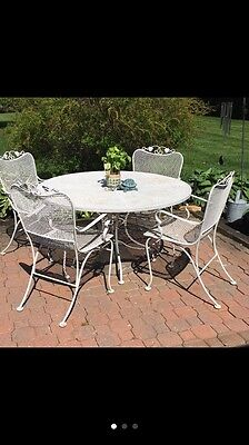 "Shabby Vintage Chic Wrought Iron 48"" Patio Table & Six Chairs Set - Gorgeous!!!"
