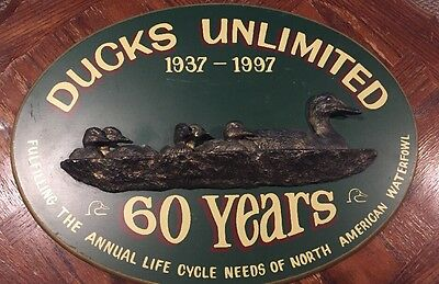 Ducks Unlimited 60th Anniversary Decorative Wooden Sign 1997