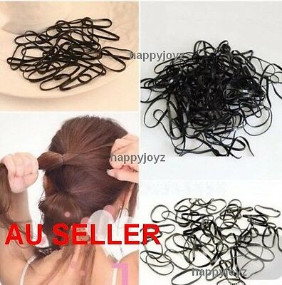 100 Black Hair ties Rubber hair band School Gym dance Hairband Ponytail holder