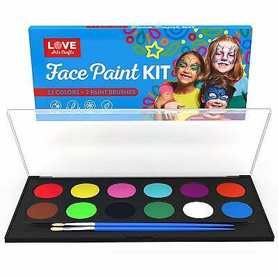 Face Painting Kit- Safe Non Toxic 12 Vibrant Color Palette . Professional... NEW