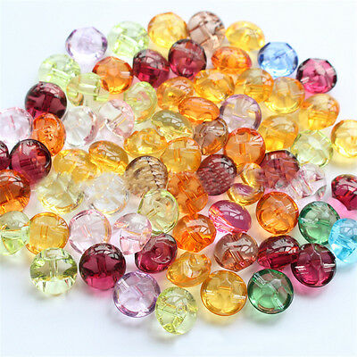 50/100pcs 12mm Mixed Acrylic Clear Buttons Sewing Scrapbooking Clothes Craft DIY