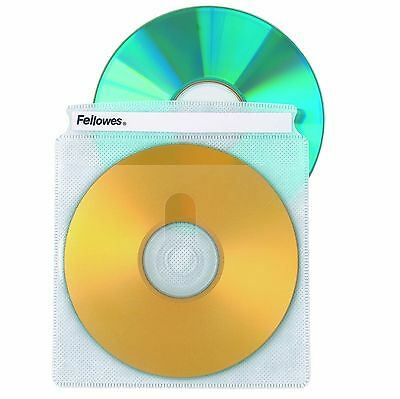 Fellowes CD Sleeves 100 CD Capacity Clear Vinyl Double Sided-50-Pack 50 P... NEW