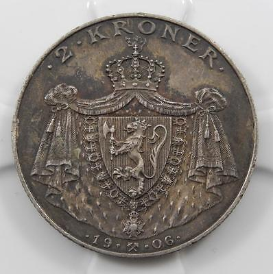 Norway 1906 2 Kroner High Grade Silver Coin Outstanding Original Patina C0032