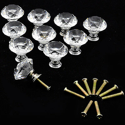 5 Pcs Clear Crystal Glass Door Knobs Drawer Cabinet Furniture Handle Knob
