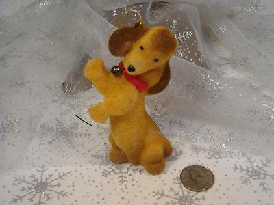 Vintage Flocked Dancing Dachshund Dog Puppy Christmas Ornament Red Collar  Bell