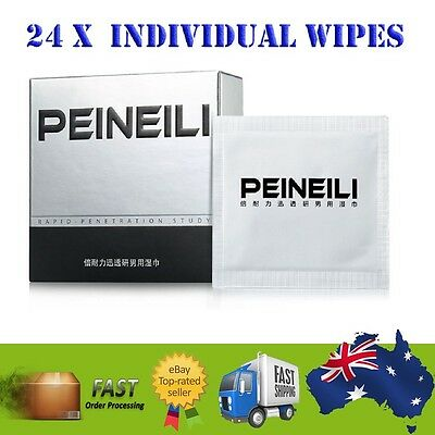 24 X Peineili Natural Premature Ejaculation Delay Wipes Male Sex Enhancer Mens