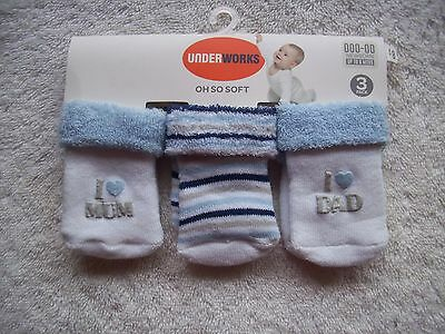 BNWT Baby Boy's Blue, Grey & White 3 Pack Socks Shoe Size 000-00 Newborn