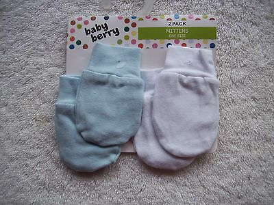 BNIP Baby Boy's 2 Pack Blue & White Cotton Knit Newborn Mittens Size 0000