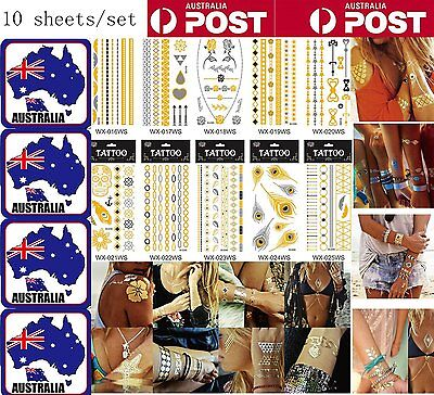 10pc Temporary Metallic Tattoo Gold Silver Black Art Body Flash Tattoos stickers