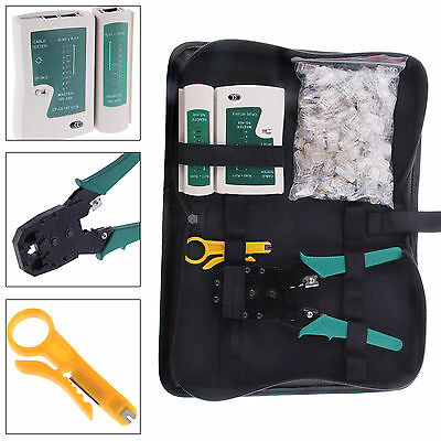 RJ45 Cat5e Crimper Ethernet Network Hand Tool Kit Cable Tester Crimp Cabling