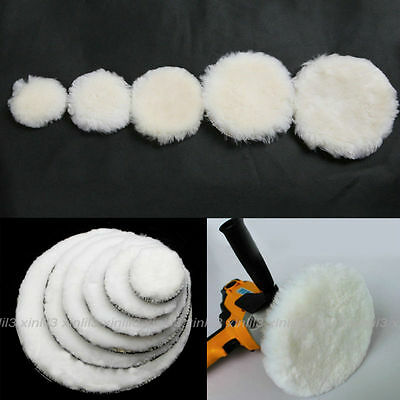 "2pcs 2-7"" Artificial Wool Buffing Pad Car Detailing Polishing Backing Polisher"