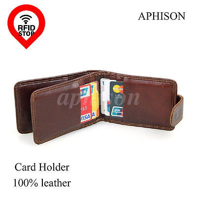 Men ID wallet cow leather RFID blocking security card holder credit card Protect