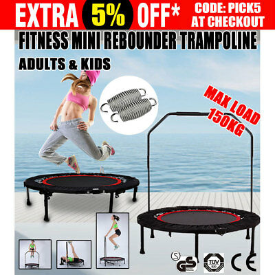 40'' Mini Trampoline Handrail Exercise Workout Gym Cardio Spring Safety Outdoor