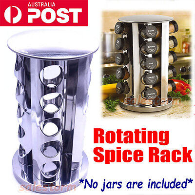20 Jars Rotating Spice Rack Stand Holder Worktop Kitchen Tools Stainless Steel