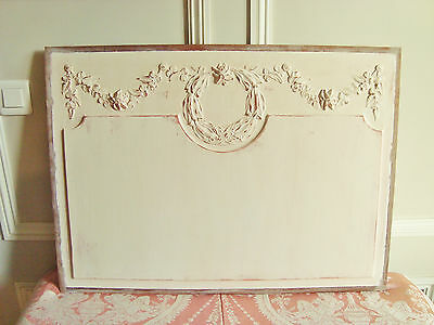 Superb Antique French Carved Wooden Pediment Panel Garland Of Roses For Projects