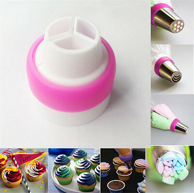 Icing Piping Bag Russian Nozzle 3-Color Converter Coupler CupCake Decor Tool
