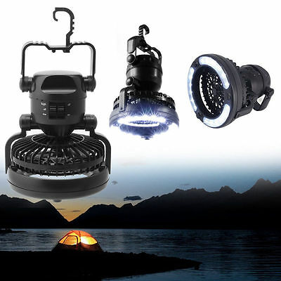 2 In 1 Outdoor Camping Ceiling Fan 18 LED Light Hanging Tent Lamp Lantern Lamp