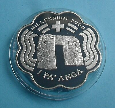 1999 Tonga 1 Pa' Anga Millennium Silver Proof Coin (Stone Monument)