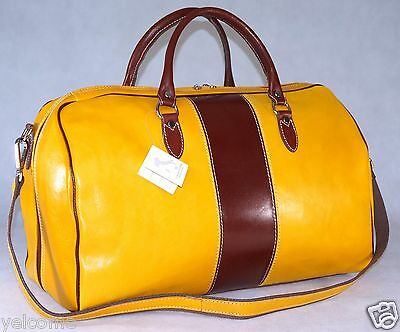 Genuine Italian Leather Duffle Weekend Travel Overnight Gym Bag Holdall Luggage
