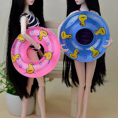 1PC Mini Swimming Ring For Barbie Doll Toy Gift Plastic Tackle Blue Color